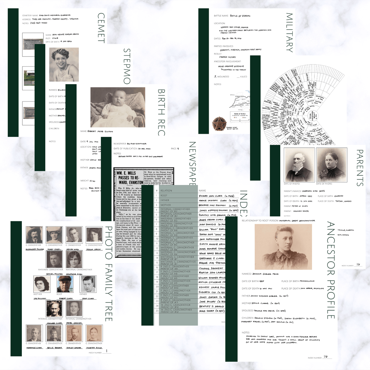 International Deluxe 200 Page Family History Bundle - Pine (Digital Download) - Family Tree Notebooks