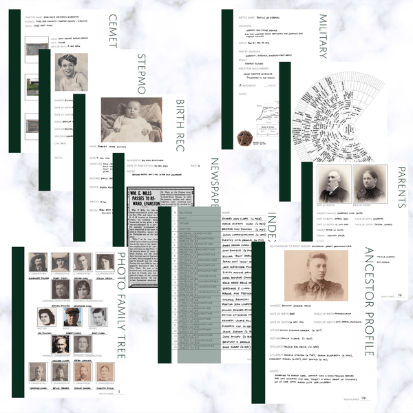 Deluxe 200 Page Family History Bundle - Pine (Digital Download) - Family Tree Notebooks