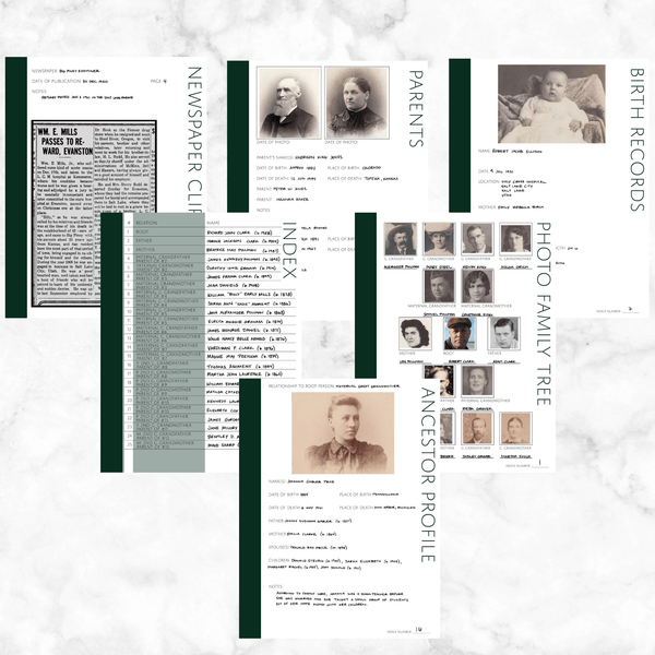 Core 50 Page Family History Bundle - Pine (Digital Download)