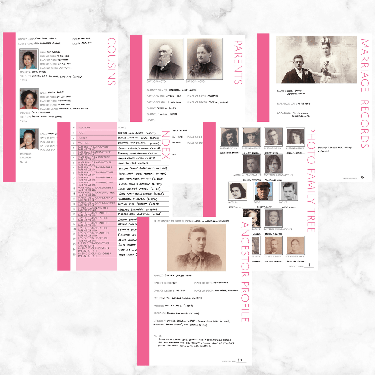 Core 50 Page Family History Bundle - Pink (Digital Download)