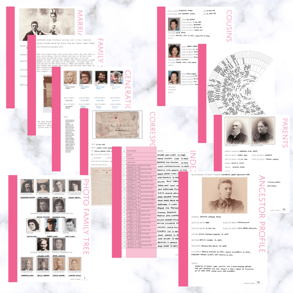 International Deluxe 200 Page Family History Bundle - Pink (Digital Download) - Family Tree Notebooks