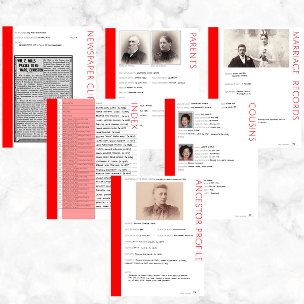 Core 50 Page Family History Bundle - Red (Digital Download)