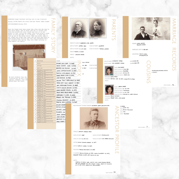 Core 50 Page Family History Bundle - Sand (Digital Download)