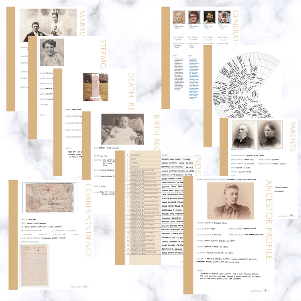 Deluxe 200 Page Family History Bundle - Sand (Digital Download) - Family Tree Notebooks