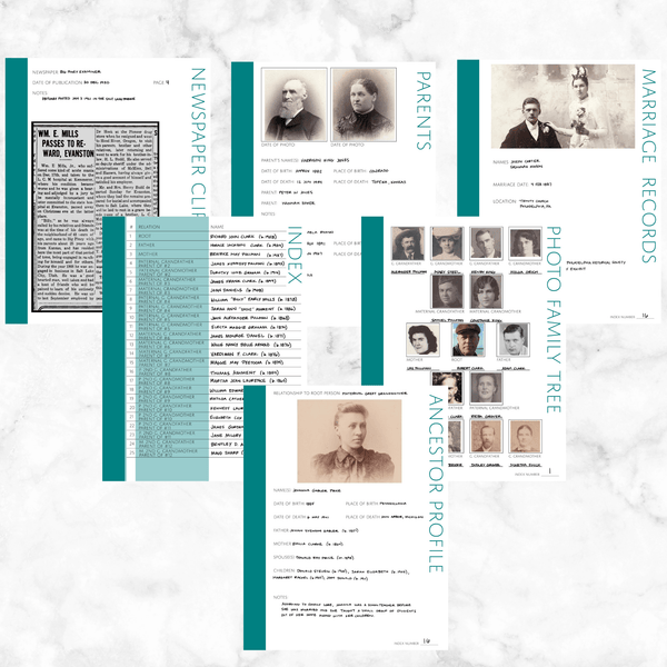 Core 50 Page Family History Bundle - Teal (Digital Download)