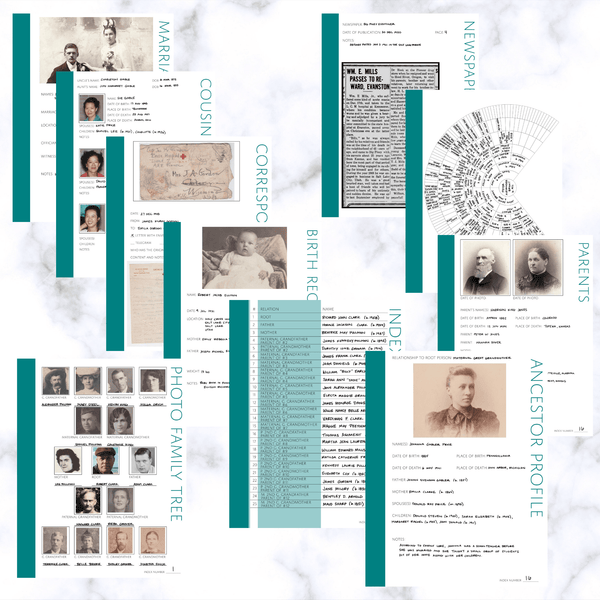 Deluxe 200 Page Family History Bundle - Teal (Digital Download) - Family Tree Notebooks
