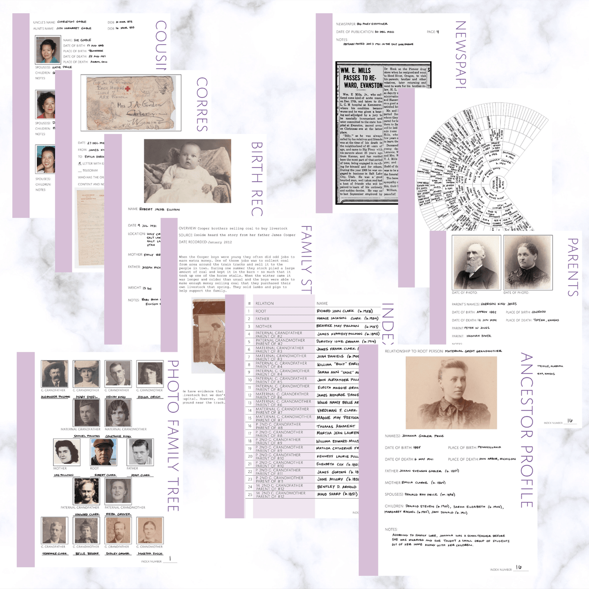 International Deluxe 200 Page Family History Bundle - Thistle (Digital Download) - Family Tree Notebooks