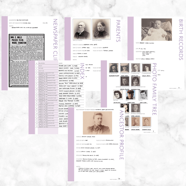 Core 50 Page Family History Bundle - Thistle (Digital Download)