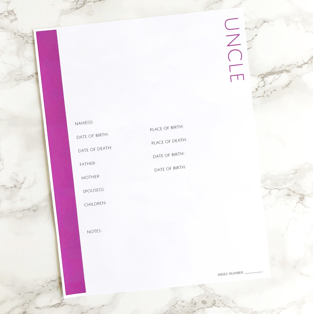 Uncle Profile Page: Printable Genealogy Form (Digital Download)