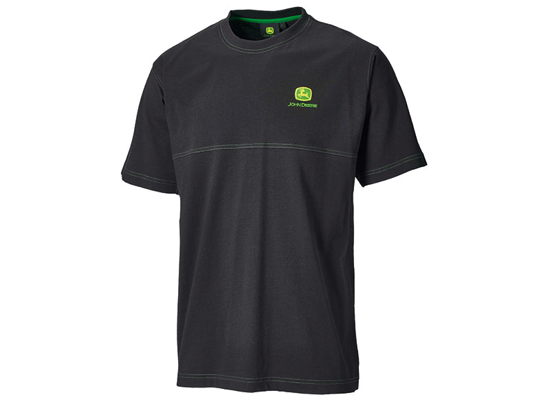John Deere Black T-Shirt with Green Seam