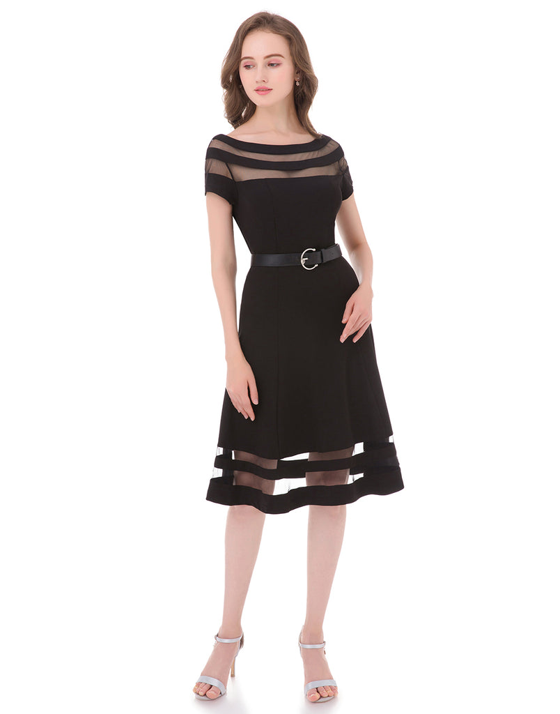 Women's Off Shoulder Fit and Flare Sheer Cocktail Party Dress with Belt