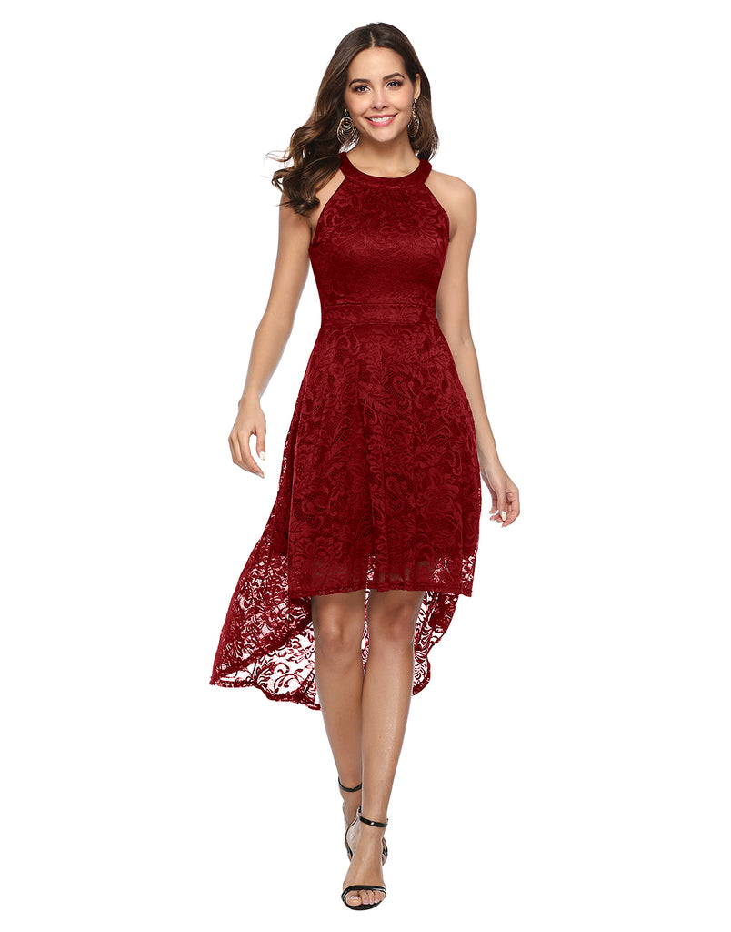 Women's Halter Hi-Lo Floral Lace Cocktail Dress Sleeveless Bridesmaid Formal Swing Dress