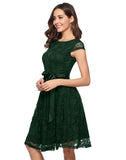 Women's Floral Lace Short Bridesmaid Dress Cap-Sleeve Wedding Formal Party Dress