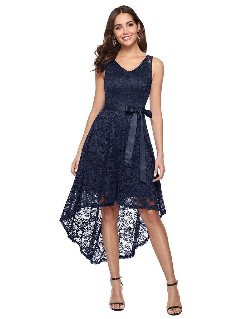 Women's Floral Lace Hi-Lo Bridesmaid Dress V Neck Cocktail Formal Swing Dress