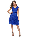 Women's Floral Lace Short Bridesmaid Dress Cap Sleeve Cocktail Party Dress