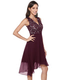 Women's Vintage Lace Chiffon Cocktail Dress Sleeveless High Waist Bridesmaid Party Swing Dress