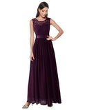 BeryLove Women's Long Floral Lace Bridesmaid Dress A-line Swing Formal Party Dress