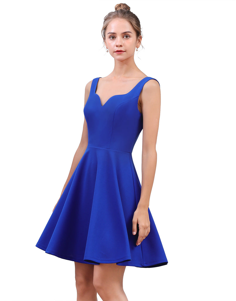 Womens Sexy V Neck Sleeveless Strappy Backless Mini Elegant Cocktail Party Skater Dress