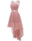 Women's Floral Lace Chiffon Bridesmaid Dress Hi-Lo Swing Party Dress