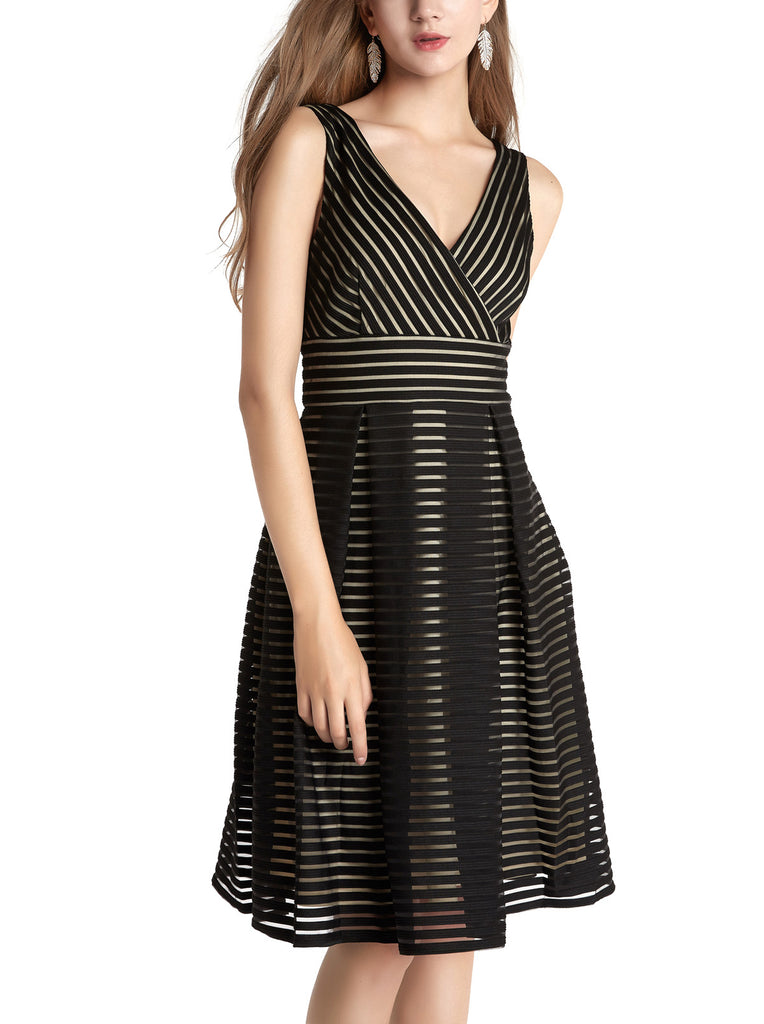Women's V Neck Sleeveless Stretched Striped Short Dress A-Line Sundress