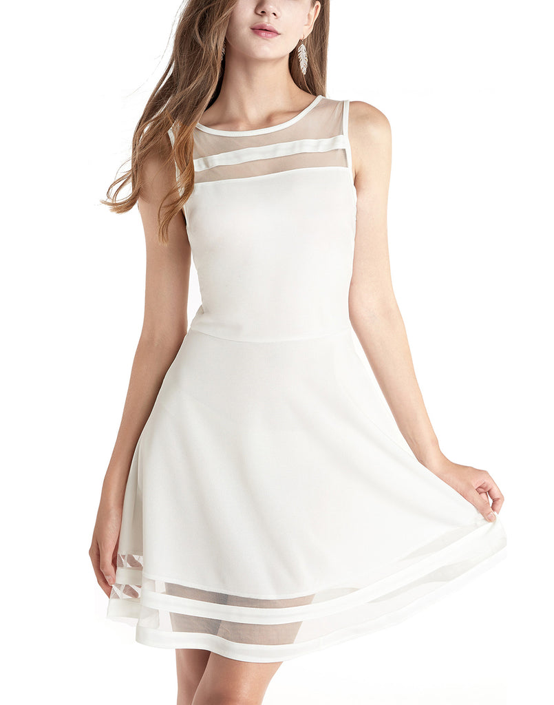 Women's A-Line Sleeveless Sheer Cocktail Party Dress