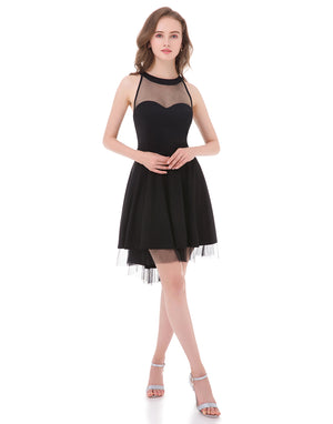Women's Halter Sheer Tulle Mini Cocktail Dress Open Back