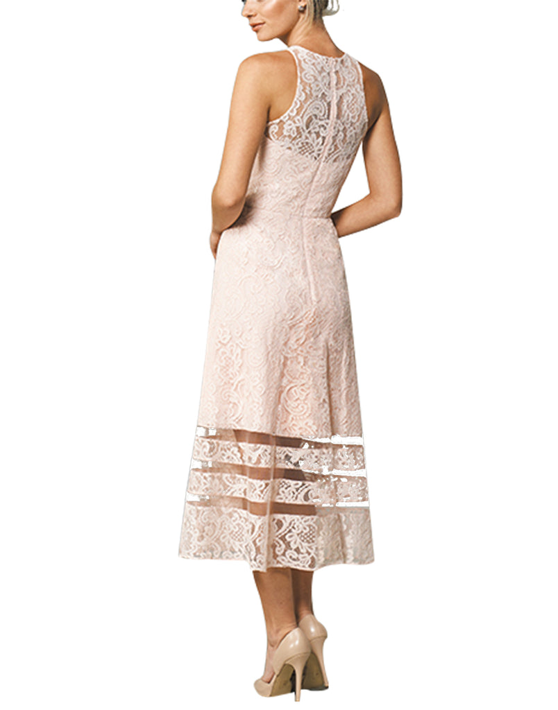 BeryLove Women's Floral Lace Bridesmaid Dress Sheer Mesh Midi Cocktail Party Dress