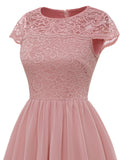 Women's Short Floral Lace Chiffon A-line Bridesmaid Dress Swing Dress