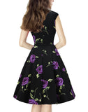 Women Vintage 1950s Retro Rockabilly Party Prom Dresses with Cap-Sleeve