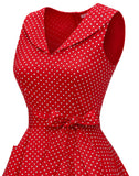Women's 1950s Vintage Polka Dress Lapel Rockbilly Cocktail Swing Party Dress Pockets