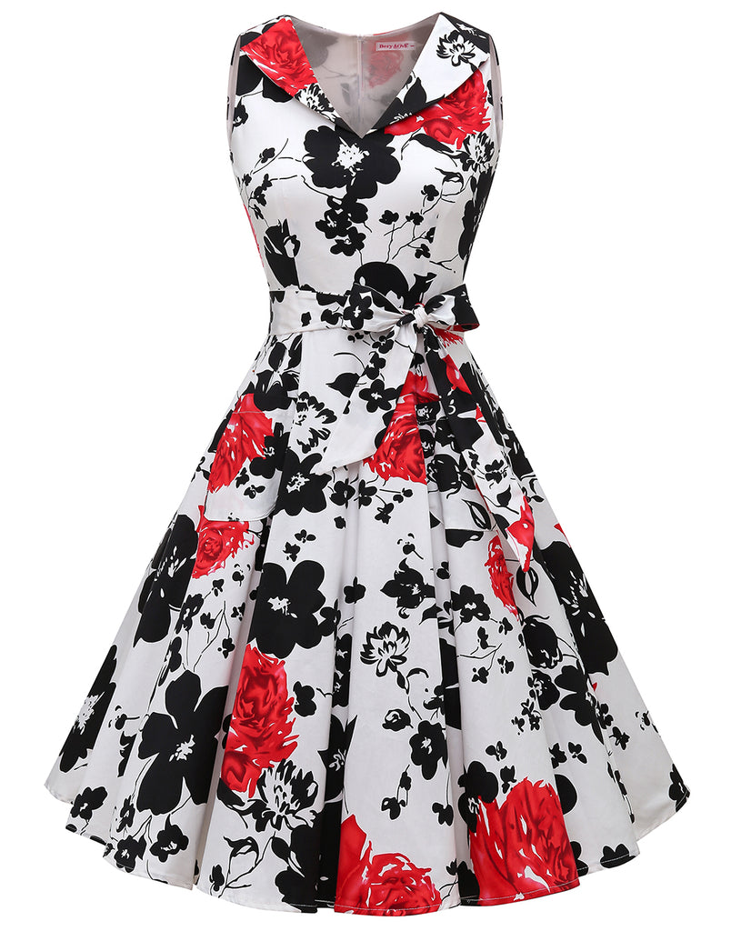 Women's 1950s Vintage Print Flower Dress Lapel Rockbilly Cocktail Swing Party Dress Pockets