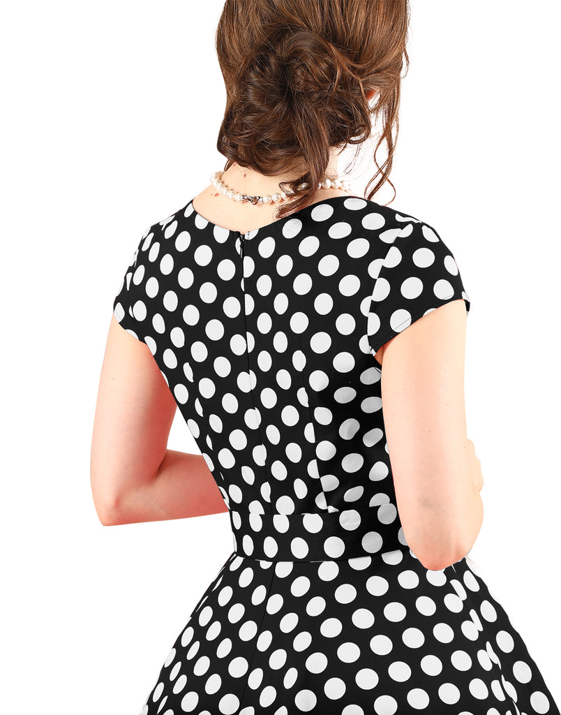 Women's Short 1950s Vintage Polka Cocktail Dress Rockbilly Retro Swing Dress
