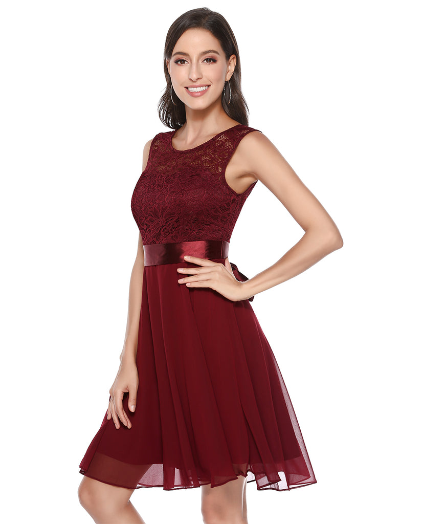 Women's Short Floral Lace Bridesmaid Dress A-line Swing Party Dress