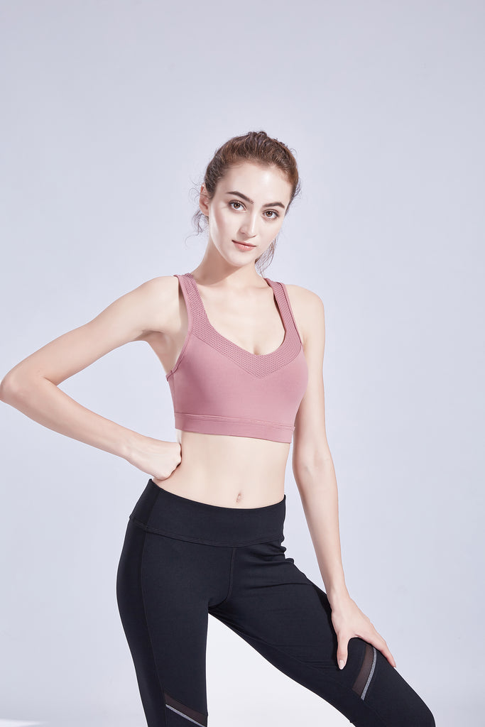 Women's Criss-Cross Back Padded Sports Bra Support Yoga Bra with Removable Cups