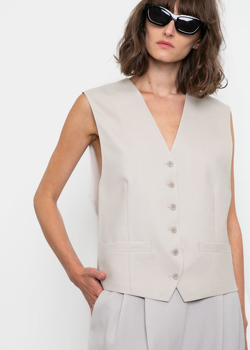 2 Piece V-Neck Jacket and Vest by Low Classic in Light Beige Blazer Low Classic