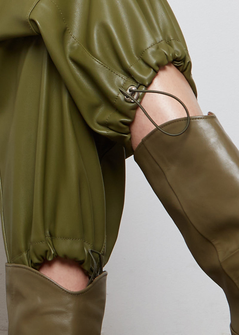 Yoyo Leather Cargo Pants in Green