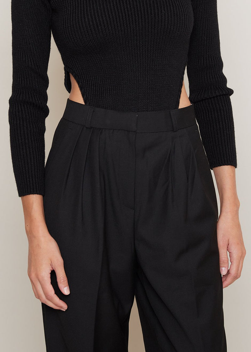 Straight Leg Pleat Front Trousers in Black