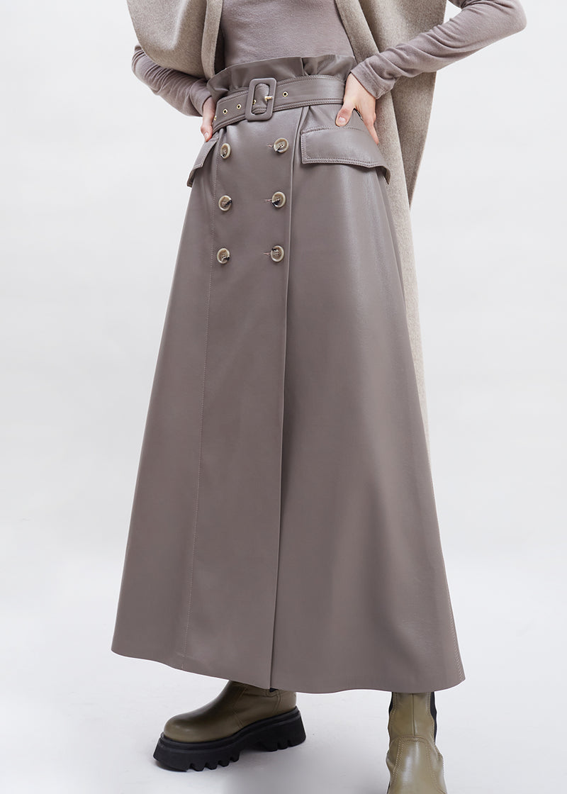 Zane Double Breasted Vegan Leather Midi Skirt by Nanushka in Clay