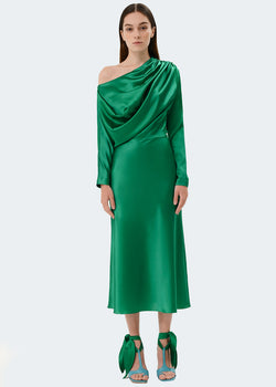 Silk Draped Midi Dress by Materiel Tbilisi in Green