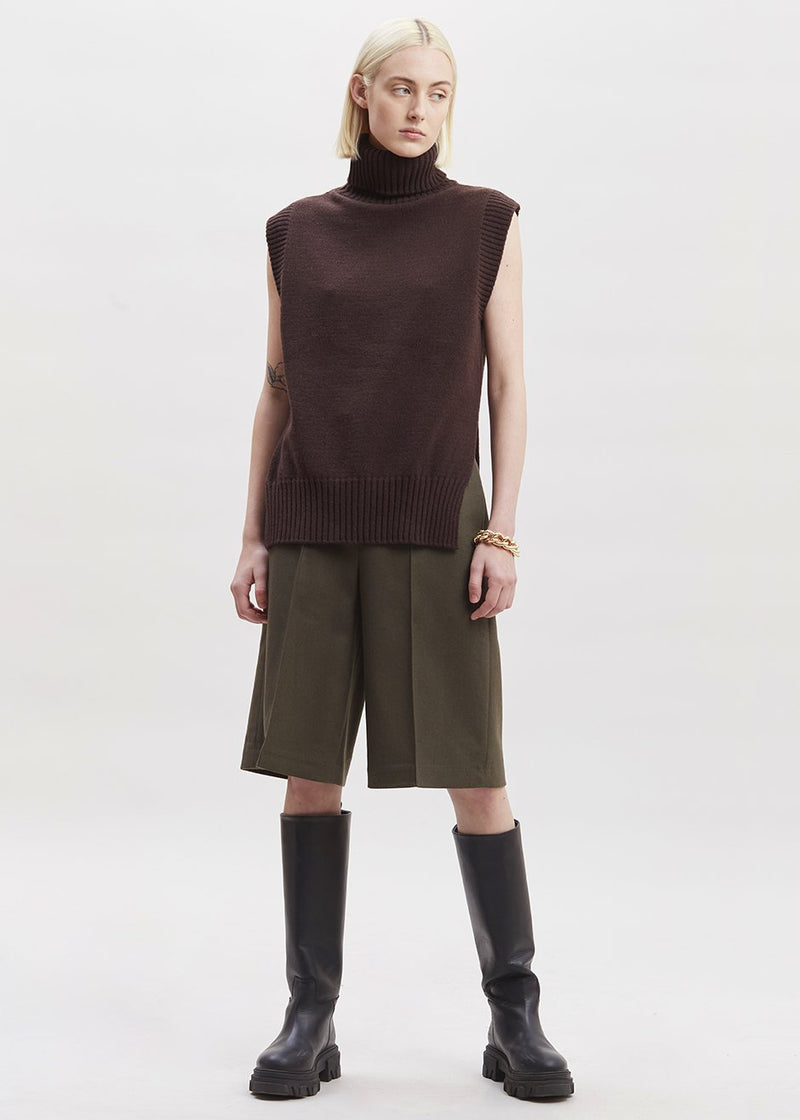 Split Hem Roll Neck Vest in Dark Espresso
