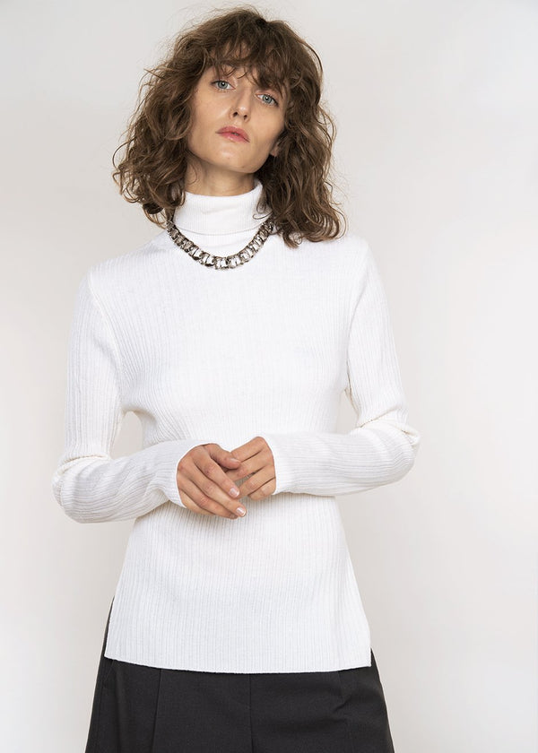 Tie Back Ribbed Knit Turtleneck in Ivory