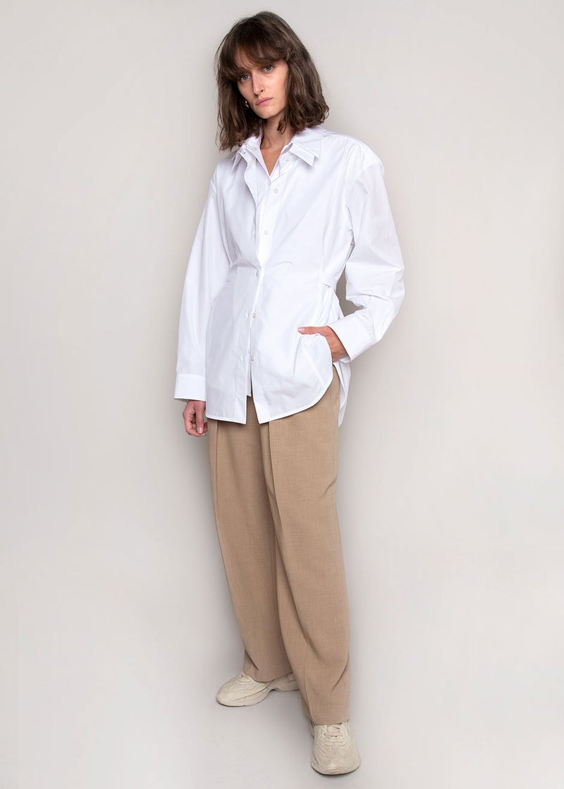Seli Double Collared Belted Shirt by Eudon Choi- White