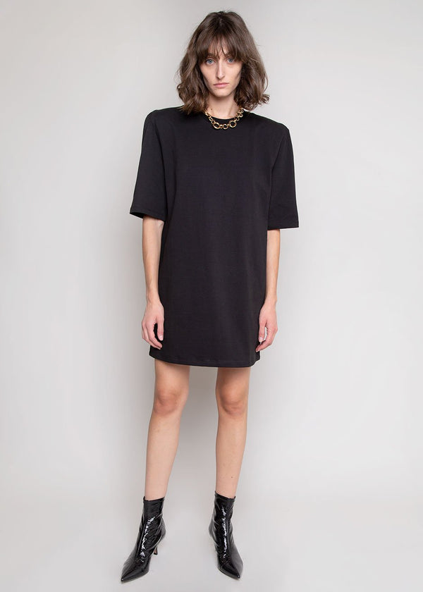 Sean Padded Shoulder Dress in Black