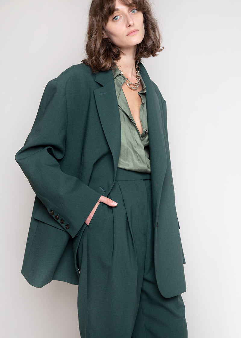 Bea Boxy Blazer in Forest Green