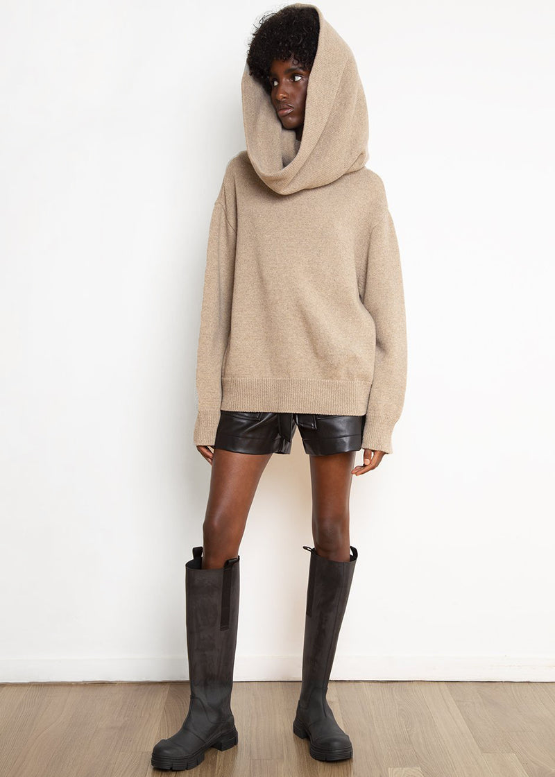 Oversized Cowl Sweater in Sand Dune