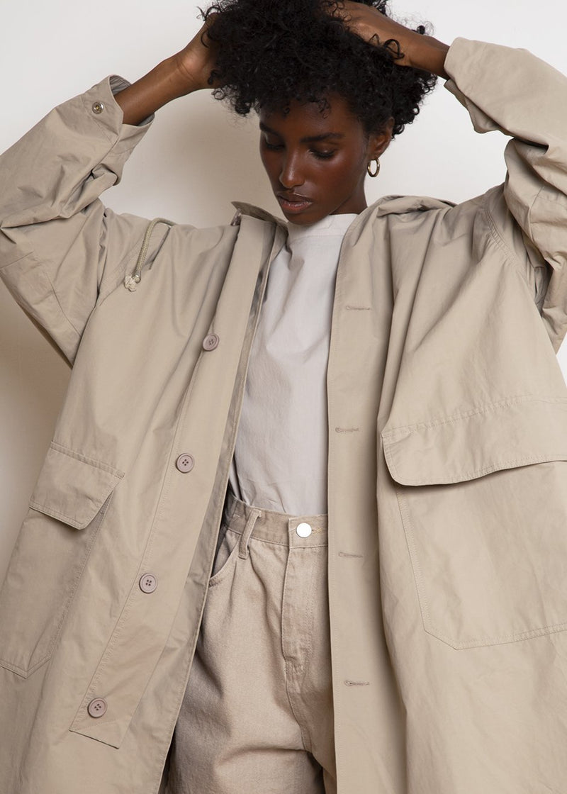 Utility Hooded Rain Parka in Clay