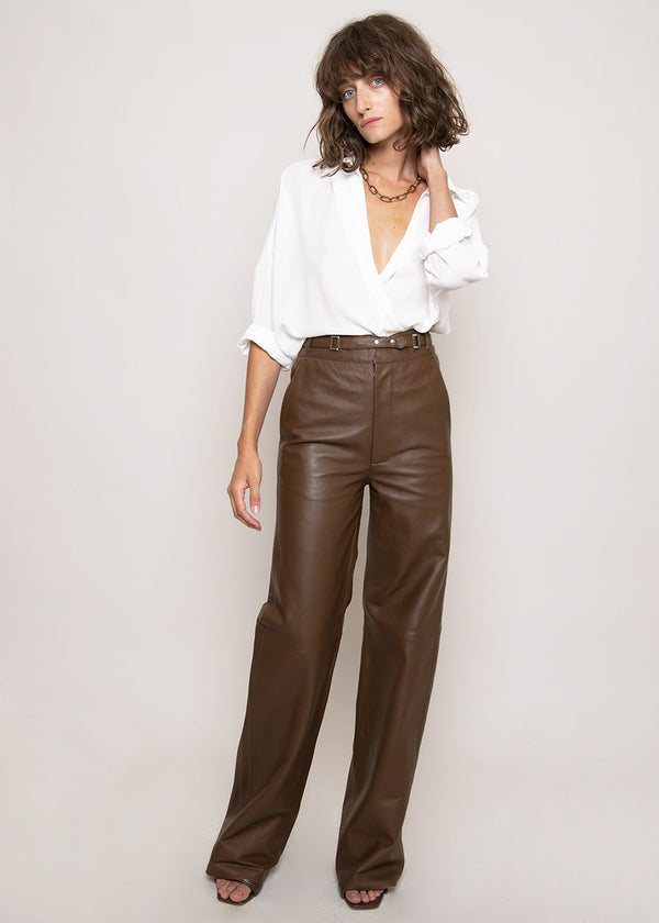Bocca Leather Pants by Remain Birger Christensen in Bison