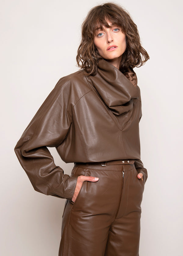 Sortie Roll Neck Leather Top by Remain Birger Christensen in Bison