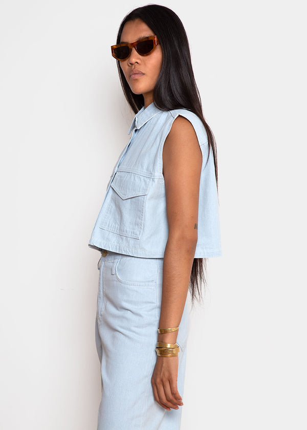 Pale Blue Denim Cropped Vest Top