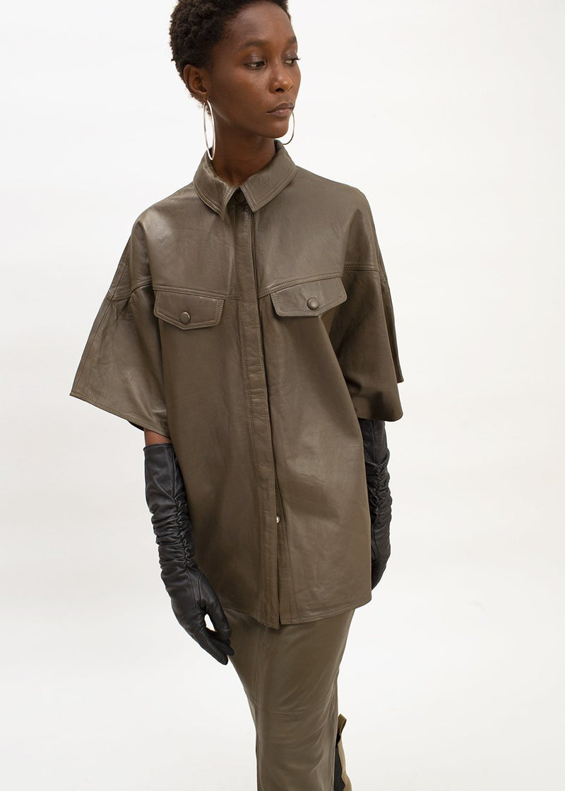 Alana Leather Shirt by Gestuz in Dark Olive